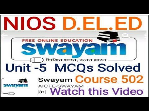 Solved Mcqs Unit-5 Course 502 D.el.ed Free/cheapest online एजुकेशन college degree courses .