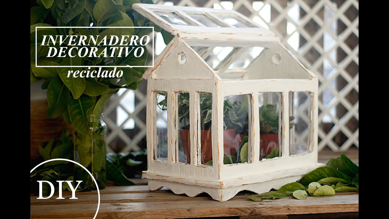 Como hacer mini invernadero terrario decorativo manualidades con carton youtube - Fabricar un invernadero ...