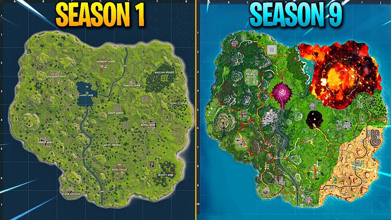 Evolution Of Fortnite Map Season 1 Season 9