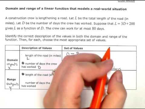 Domain and range of a linear function that models a real world situation