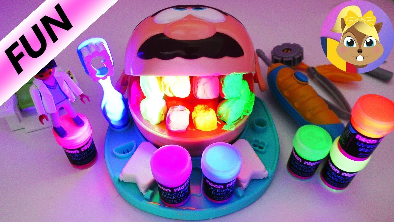Dintii fosforescenti ai Dr. Drill and Fill - Playdoh // Medicul dentist Playmobil ne ajuta