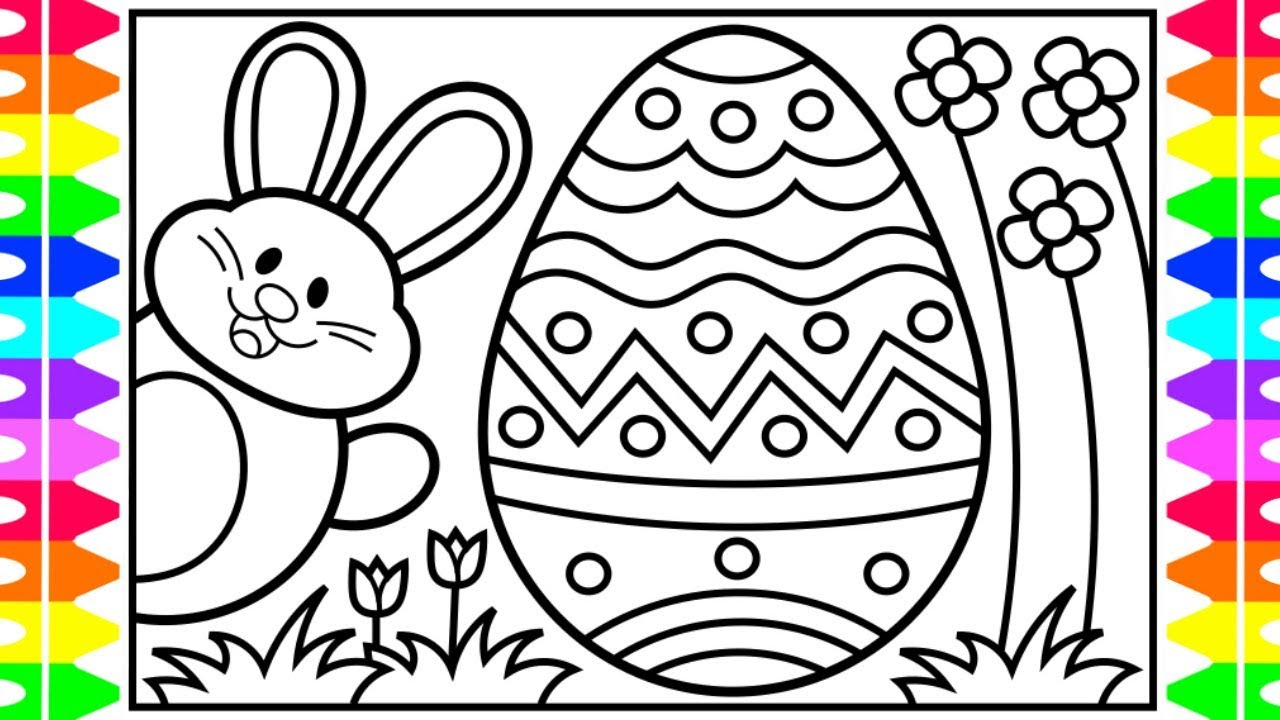 How to Draw the Easter Bunny and Eggs for Kids 🐰🌈🌸Easter Drawings ...