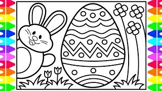 How to Draw the Easter Bunny and Eggs for Kids 🐰🌈🌸Easter Drawings for Kids💜Easter Coloring Pages
