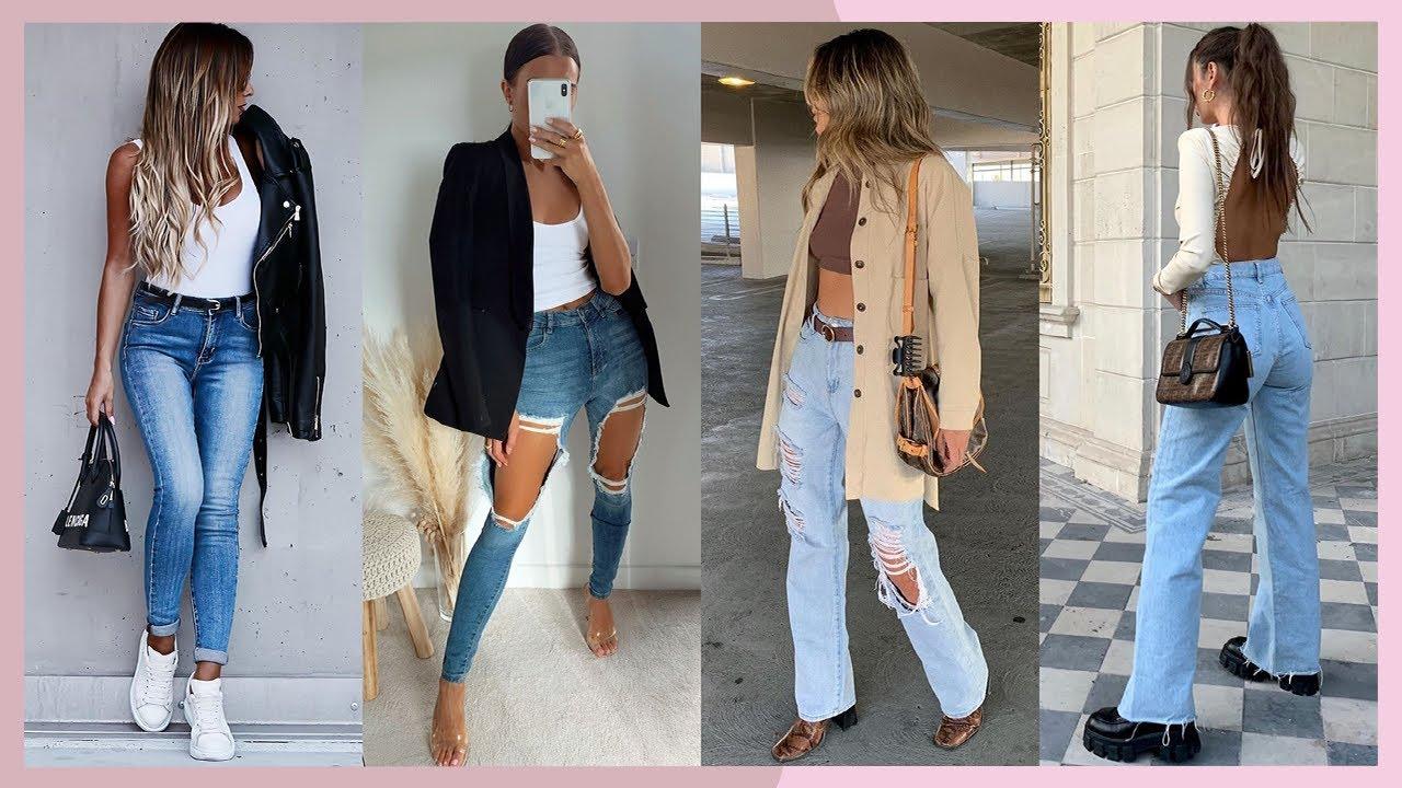 Outfits Con Jeans De Moda 2021 Mujer Como Combinar Pantalones De Mezclilla En Otono Invierno Youtube