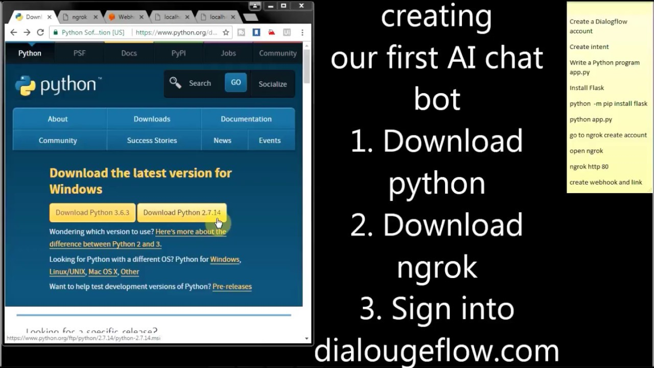 Making of simple AI Chat Bot using webhook | Python | dialogflow com |  API AI | ngrok