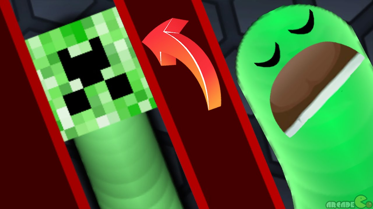 Slither.io Minecraft Creeper Skin Mod Sneaky Snake | Epic Slither.io Gameplay!
