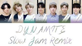 BTS (방탄소년단) - Dynamite (Slow Jam Remix) Color Coded Lyrics