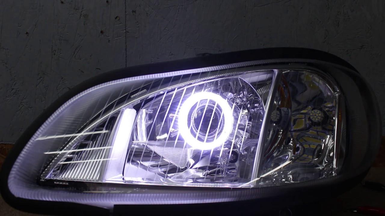 2002-2019 freightliner m2 business class projector led headlights - hid  retrofit kit