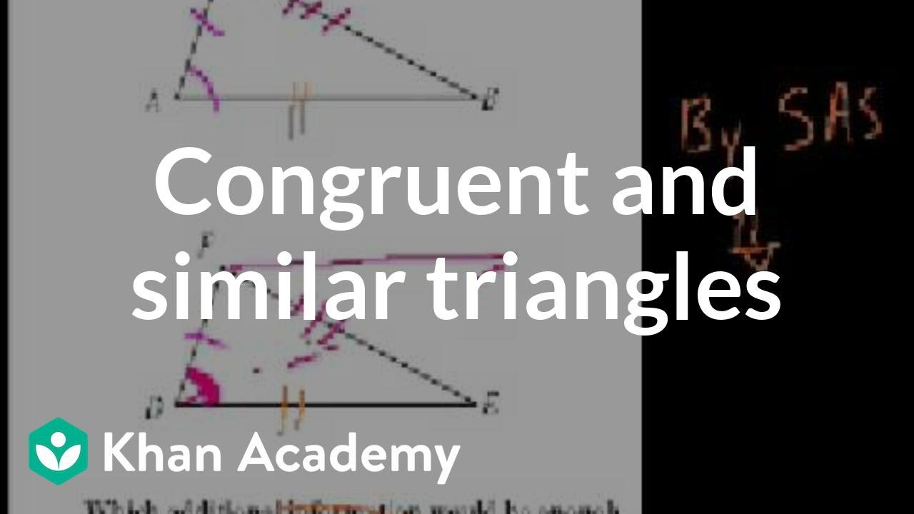 Ca geometry more on congruent and similar triangles worked ca geometry more on congruent and similar triangles worked examples geometry khan academy youtube biocorpaavc Gallery