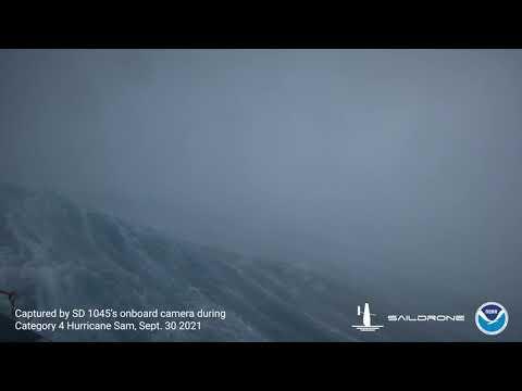Ocean Drone Films Inside Powerful Hurricane Sam in Atlantic Ocean