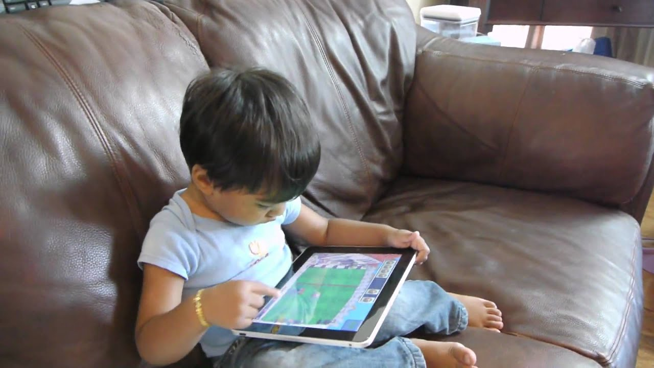 My 2 Year Old Playing With Ipad Plants Vs Zombies Game