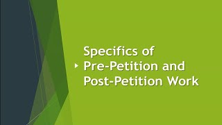 Specifics of Pre-Petition and Post-Petition Work