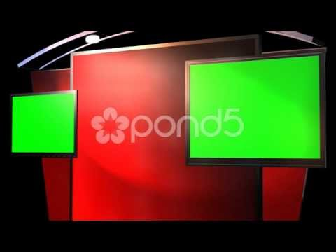Virtual Studio Background With Animated Green Screen Tv
