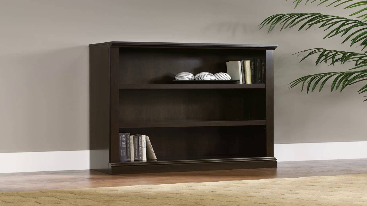 Sauder Beginnings 3 Shelf Bookcase In Cinnamon Cherry - YouTube