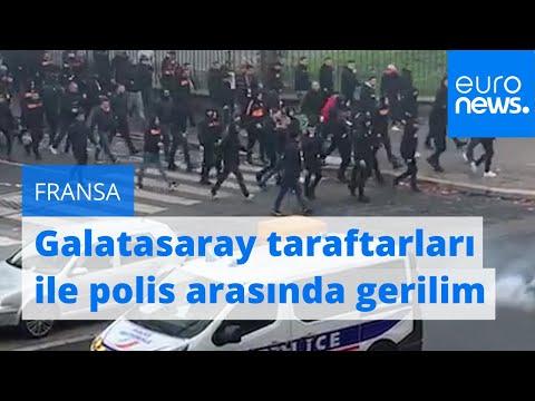 Paris'te maç öncesi Galatasaray taraftarları ile polis arasında gerilim