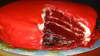 """Торт """"Красный Бархат"""" Шикарный и Оочень Вкусный бисквит на кефире. крем для торта, торты рецепты."""