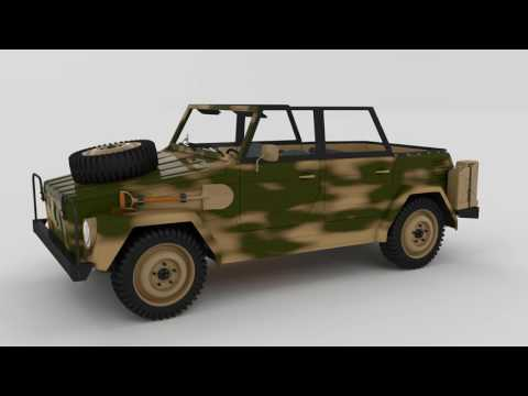 Volkswagen 181 Army with interior 3D Model