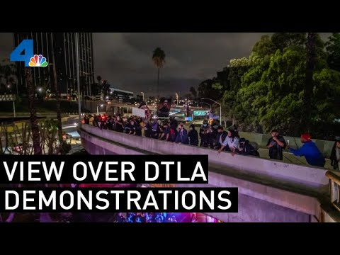 Aerial Video Shows Confrontation Between LAPD And Protesters | NBCLA