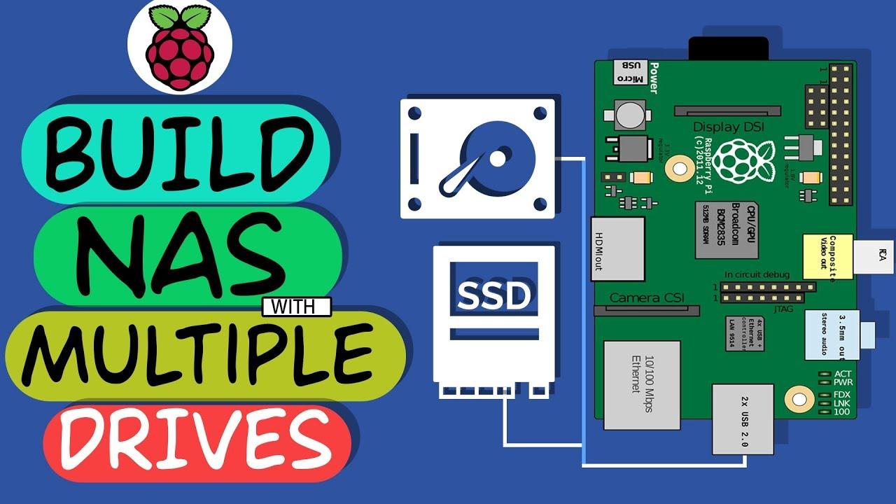 How to CREATE a NAS Server With Raspberry Pi 3 Using Multiple Drives ? ||  (Hard Drive + SSD)