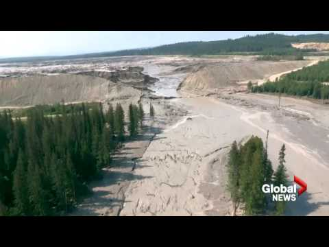 Aerial View Of Destruction Caused By Mount Polley Mine Tailings Pond Breach