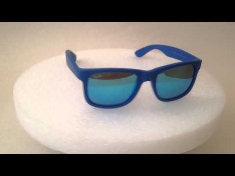 ray-ban-justin-wayfarer-sunglasses-blue-nylon-frame-blue-mirror-flash-lens-rb4165-6088/55-51mm