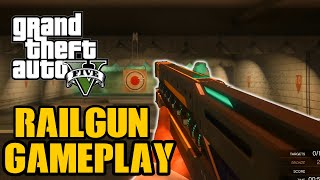 GTA 5 - Railgun Weapon Gameplay! Explosive Rail Gun In First Person! (GTA V PS4 & Xbox One)