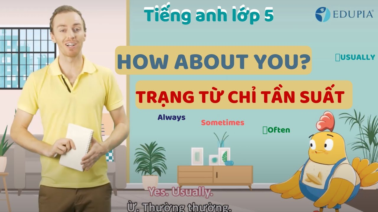 Học tiếng anh lớp 5 unit 2: I always get up early. How about you? Trạng từ chỉ tần suất