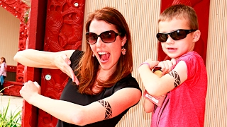 Sandra and Kids Get Tattoos!  Family Goes to Beach and Visits Polynesian Cultural Center PCC Hawaii
