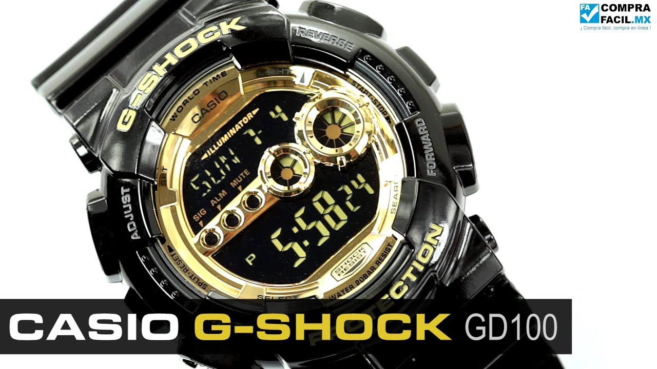 243f7e2c0eb3 Reloj Casio G-Shock GD100 Gold - www.CompraFacil.mx - YouTube