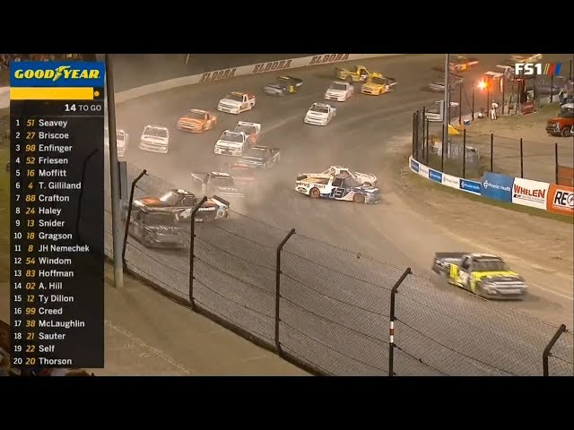 NASCAR Camping World Truck Series 2018. Eldora Speedway. Restart Crashes