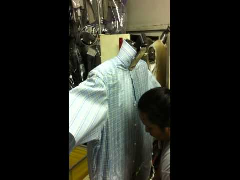 How do dry cleaners press shirts?