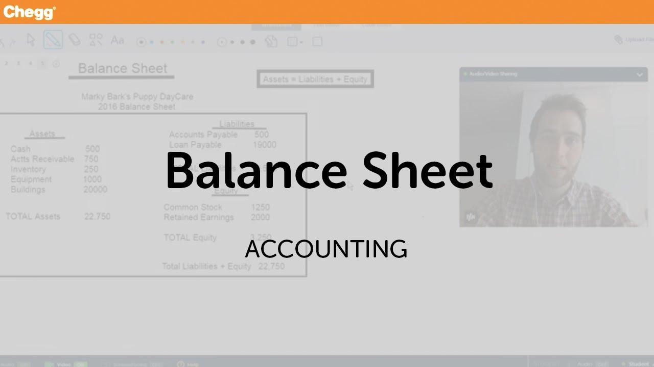 balance sheet accounting chegg tutors youtube