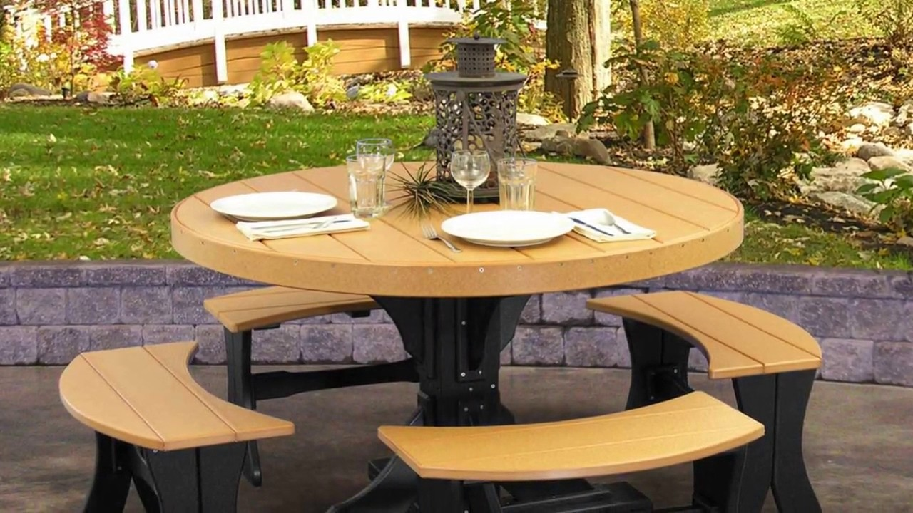 Round picnic table with attached benches plans youtube round picnic table with attached benches plans watchthetrailerfo