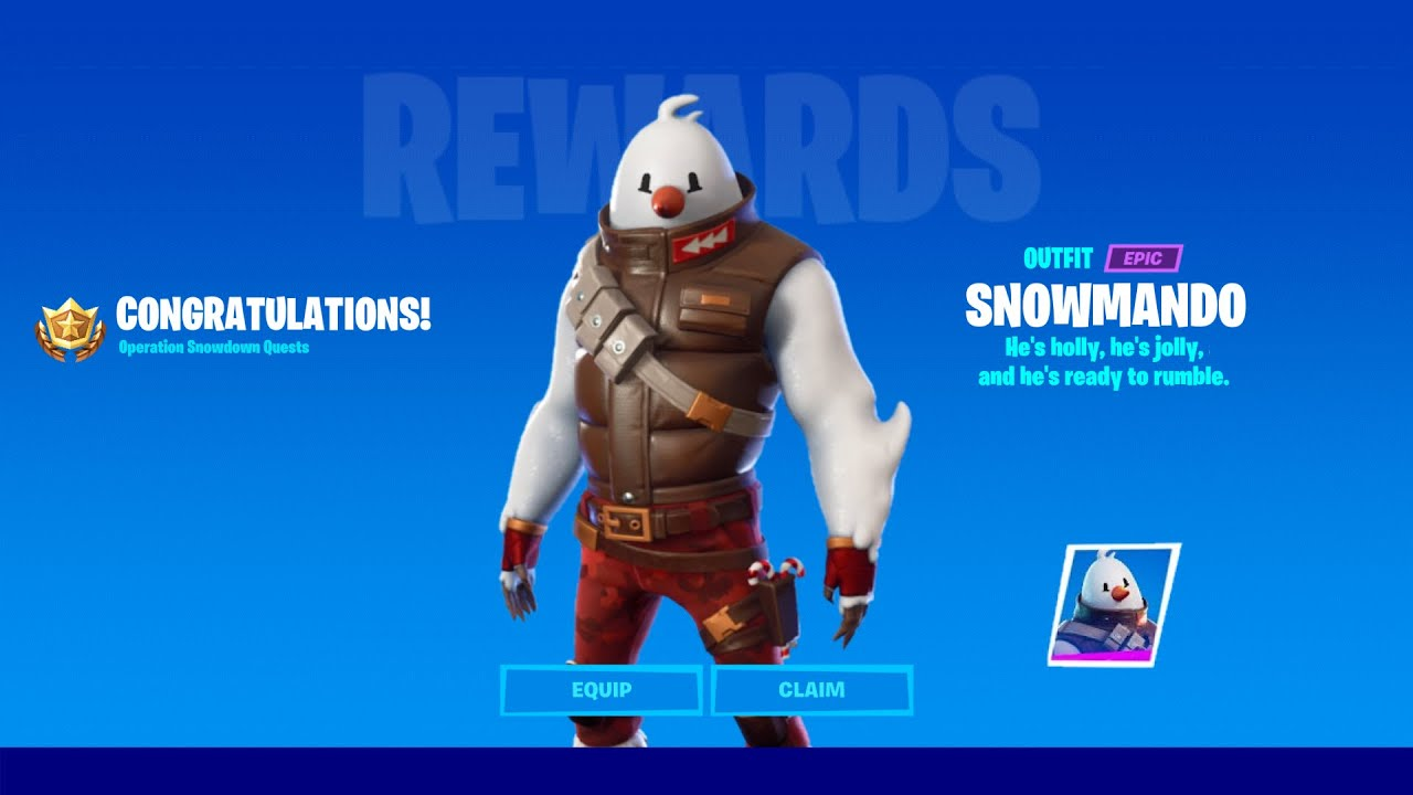 How To Unlock Snowmando Skin In Fortnite Chapter 2 Season 5 Complete 9 Operation Snowdown Quests Youtube Get the best fortnite creative map codes here. how to unlock snowmando skin in fortnite chapter 2 season 5 complete 9 operation snowdown quests