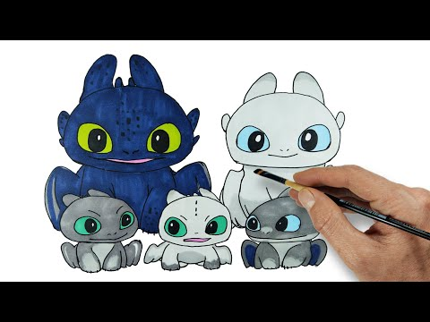 toothless-&-light-fury-and-baby-dragons-|-httyd-homecoming-|-drawing-and-coloring