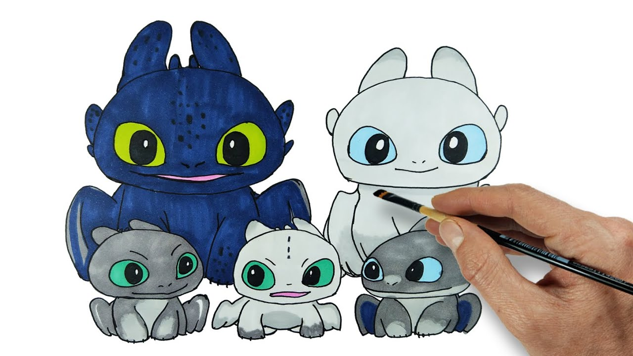Toothless Light Fury And Baby Dragons Httyd Homecoming Drawing And Coloring Youtube