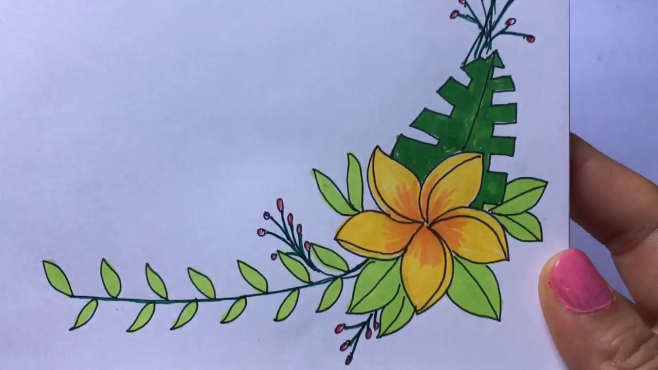 Step By Step How To Draw Beautiful Flower Art Border Design Youtube