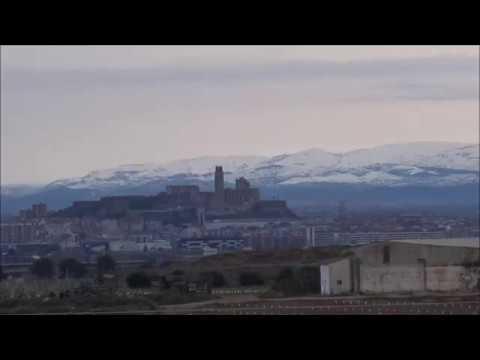 Lleida i la Seu Vella amb neu al fons