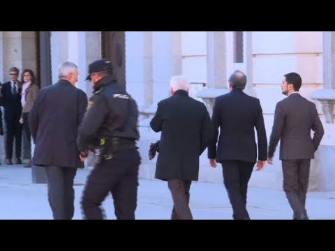 Catalan regional president Quim Torra arrives at court for trial
