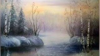"Видео урок ""Рисуем зимний пейзаж с закатом"""