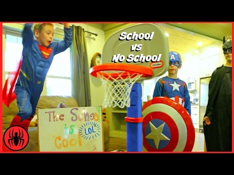 Superman Captain America Batman BACK TO SCHOOL vs NO SCHOOL superhero real life movie SuperHeroKids