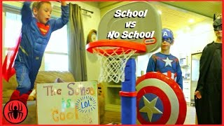 Superman Captain America Batman BACK TO SCHOOL vs NO SCHOOL superhero real life movie SuperHeroKids
