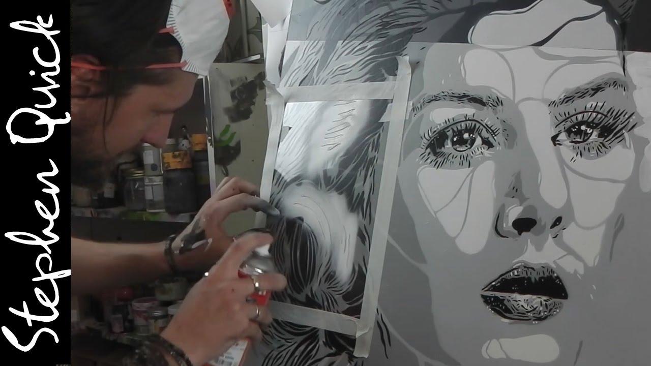 Stencil spray painting multi layer portrait stephen quick