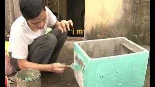 Phim Han Quoc | Kỹ thuật làm thùng nuôi ong từ thùng xốp. | Ky thuat lam thung nuoi ong tu thung xop.