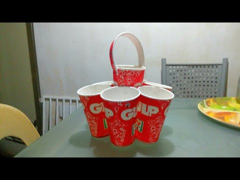 DIY Disposable Paper Cups Organizer/Pork , Spoon, Tissue Holder for birthday party & others
