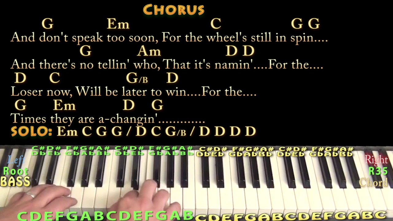 The Times They Are A Changin' Bob Dylan Piano Lesson Chord Chart with  Chords/Lyrics   Arpeggios