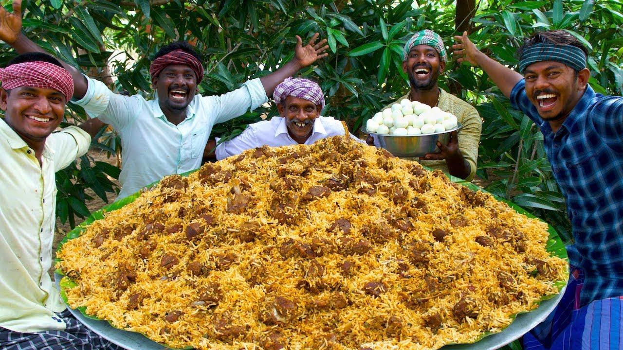 Download MUTTON BIRYANI   Layered Mutton Biryani Recipe Cooking In Village   Goat Biryani Cooking & Eating