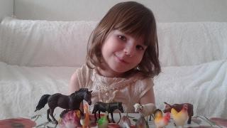 Катя распаковывает игрушки Домашние животные и Домашние птицы