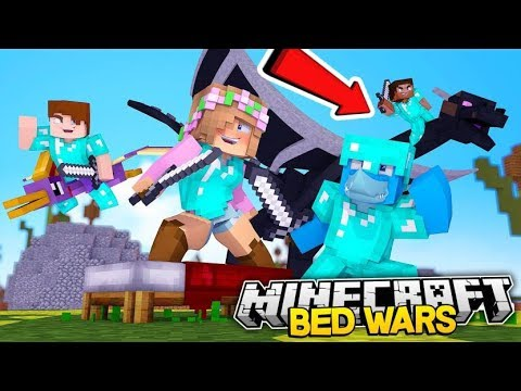 LITTLE KELLY KILLED BY A DRAGON!! Minecraft BED WARS w/ Sharky
