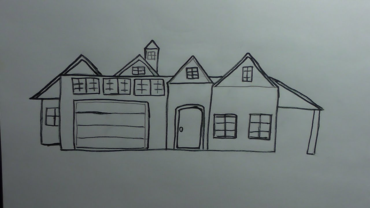 How to draw a house youtube for House drawing easy